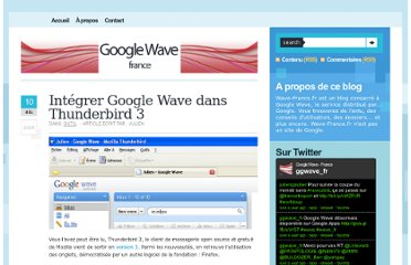 http://www.wave-france.fr/2009/12/integrer-google-wave-thunderbird-3/