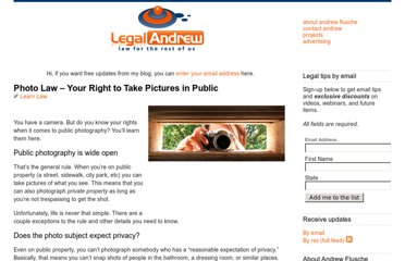 http://www.legalandrew.com/2007/10/11/photo-law-your-right-to-take-pictures-in-public/