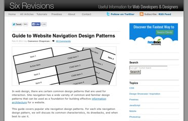 http://sixrevisions.com/user-interface/navigation-design-patterns/