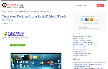 http://www.techmynd.com/turn-your-desktop-into-a-real-3d-multi-touch-desktop/