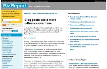 http://www.bizreport.com/2011/02/blog-posts-wield-more-influence-over-time.html