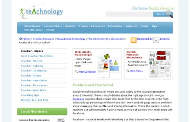 http://www.teach-nology.com/teachers/educational_technology/internet_in_class/facebook.html
