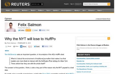 http://blogs.reuters.com/felix-salmon/2011/02/08/why-the-nyt-will-lose-to-huffpo/