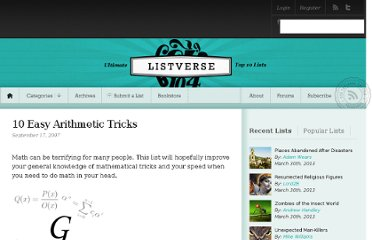 http://listverse.com/2007/09/17/10-easy-arithmetic-tricks/