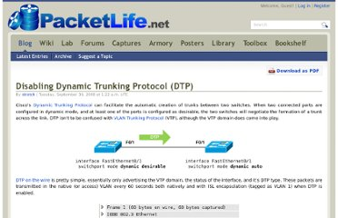 http://packetlife.net/blog/2008/sep/30/disabling-dynamic-trunking-protocol-dtp/
