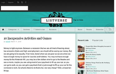 http://listverse.com/2010/03/11/10-inexpensive-activities-and-games/