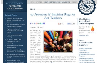 http://www.accreditedonlinecolleges.com/blog/2011/50-awesome-inspiring-blogs-for-art-teachers/