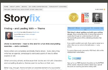 http://storyfix.com/finding-%e2%80%93-and-leading-with-theme