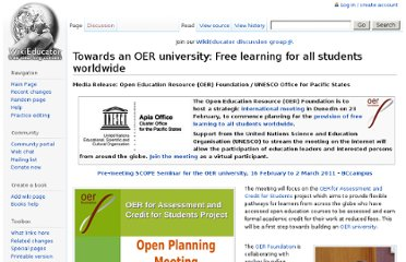 http://wikieducator.org/Towards_an_OER_university:_Free_learning_for_all_students_worldwide