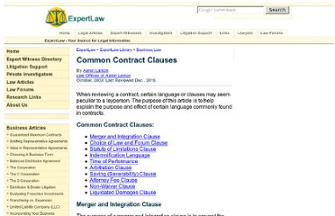http://www.expertlaw.com/library/business/contract_clauses.html