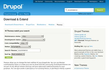 http://drupal.org/project/themes?filters=drupal_core%3A87&solrsort=sis_project_release_usage%20desc&text=ecommerce