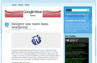 http://www.wave-france.fr/2009/11/integrer-wave-wordpress/