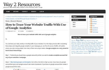 http://www.way2resources.com/post/2011/02/11/How-to-trace-your-website-traffic-with-use-of-google-analytics.aspx