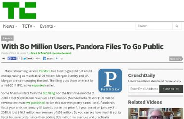 http://techcrunch.com/2011/02/11/pandora-files-to-go-public/