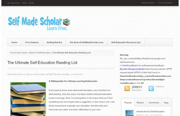 http://selfmadescholar.com/b/2009/07/29/the-ultimate-self-education-reading-list/
