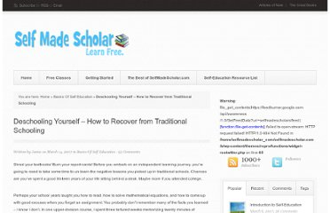 http://selfmadescholar.com/b/2007/03/14/deschooling-yourself-%e2%80%93-how-to-recover-from-traditional-schooling/