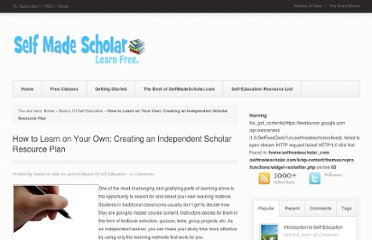 http://selfmadescholar.com/b/2007/06/10/how-to-learn-on-your-own-creating-an-independent-scholar-resource-plan/