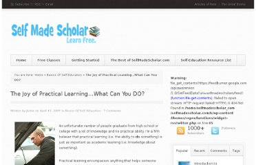 http://selfmadescholar.com/b/2009/04/15/the-joy-of-practical-learning%e2%80%a6what-can-you-do/