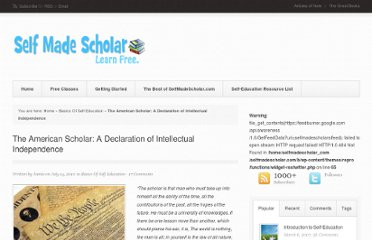 http://selfmadescholar.com/b/2010/07/14/the-american-scholar-a-declaration-of-intellectual-independence/