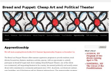 http://breadandpuppet.org/apprenticeship-and-workshops