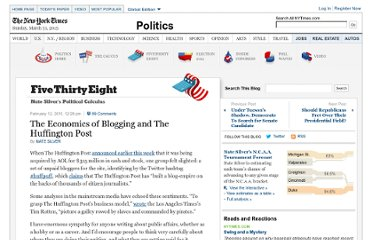 http://fivethirtyeight.blogs.nytimes.com/2011/02/12/the-economics-of-blogging-and-the-huffington-post/