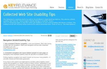 http://www.keyrelevance.com/articles/usability-tips.htm