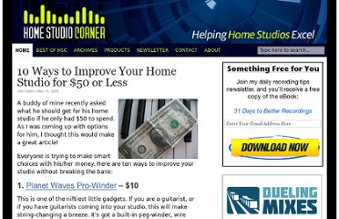 http://www.homestudiocorner.com/2009/05/12/10-ways-to-improve-your-home-studio-for-50-or-less/