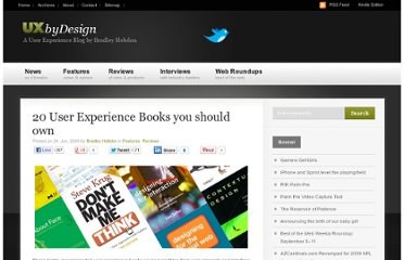http://www.uxbydesign.org/2009/06/24/20-user-experience-books-you-should-own/