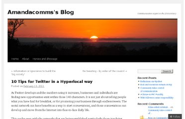 http://amandacomms1.wordpress.com/2011/02/13/10-tips-for-twitter-in-a-hyperlocal-way/