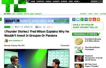 http://techcrunch.com/2011/02/12/founder-stories-fred-wilson-groupon-pandora/