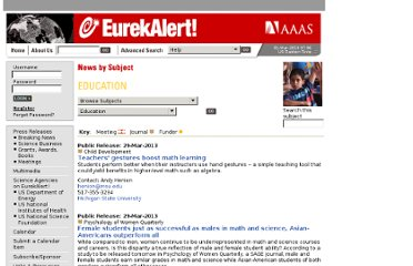 http://www.eurekalert.org/bysubject/education.php