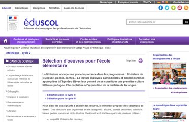 http://eduscol.education.fr/cid50485/litterature.html