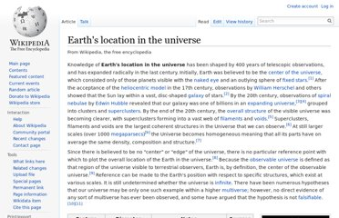 http://en.wikipedia.org/wiki/Earth%27s_location_in_the_universe