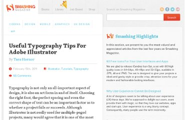 http://www.smashingmagazine.com/2011/02/15/useful-typography-tips-for-adobe-illustrator/