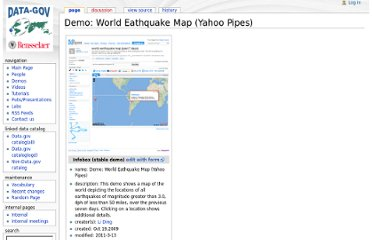 http://data-gov.tw.rpi.edu/wiki/Demo:_World_Eathquake_Map_(Yahoo_Pipes)