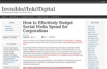 http://invisibleinkdigital.com/digital-strategy-2/effectively-budget-social-media-spend-corporations/