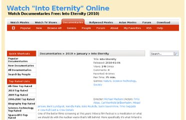http://www.iwatchdocumentaries.com/documenatries/into-eternity-2010/