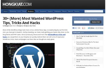 http://www.hongkiat.com/blog/30-more-most-wanted-wordpress-tips-tricks-and-hacks/