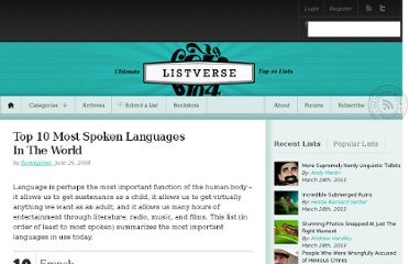 http://listverse.com/2008/06/26/top-10-most-spoken-languages-in-the-world/