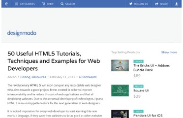 http://designmodo.com/50-useful-html5-tutorials-techniques-and-examples-for-web-developers/