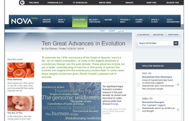 http://www.pbs.org/wgbh/nova/evolution/ten-great-advances-evolution.html