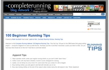 http://completerunning.com/archives/2006/09/12/100-beginner-running-tips/