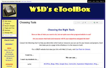 http://etoolbox.wikispaces.com/Choosing+Tools