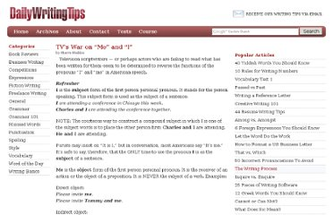 http://www.dailywritingtips.com/tvs-war-on-me-and-i/