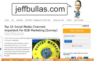 http://www.jeffbullas.com/2010/05/20/top-15-social-media-channels-important-for-b2b-marketing-survey/