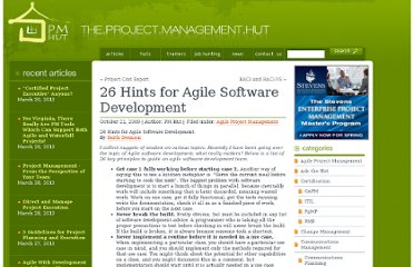 http://www.pmhut.com/26-hints-for-agile-software-development