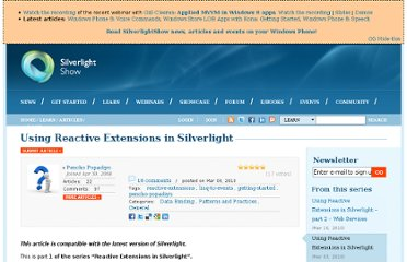 http://www.silverlightshow.net/items/Using-Reactive-Extensions-in-Silverlight.aspx