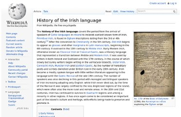 http://en.wikipedia.org/wiki/History_of_the_Irish_language