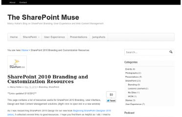 http://www.thesharepointmuse.com/2010/05/sharepoint-2010-customization-resources/