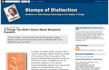 http://www.stampsofdistinction.com/2008/06/8-things-you-didnt-know-about-benjamin.html